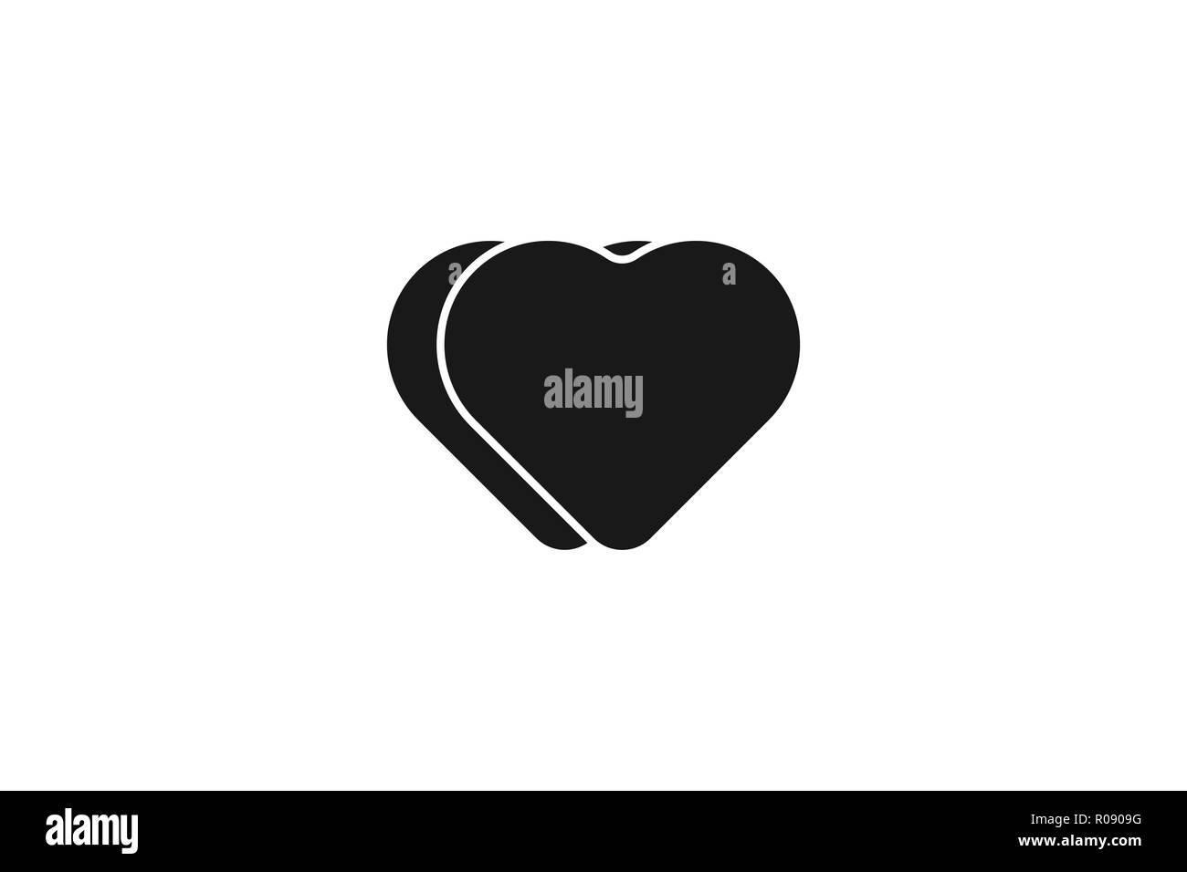 Nero Minimalista Icona Amore Disegni Logo Ispirazione Isolata Su