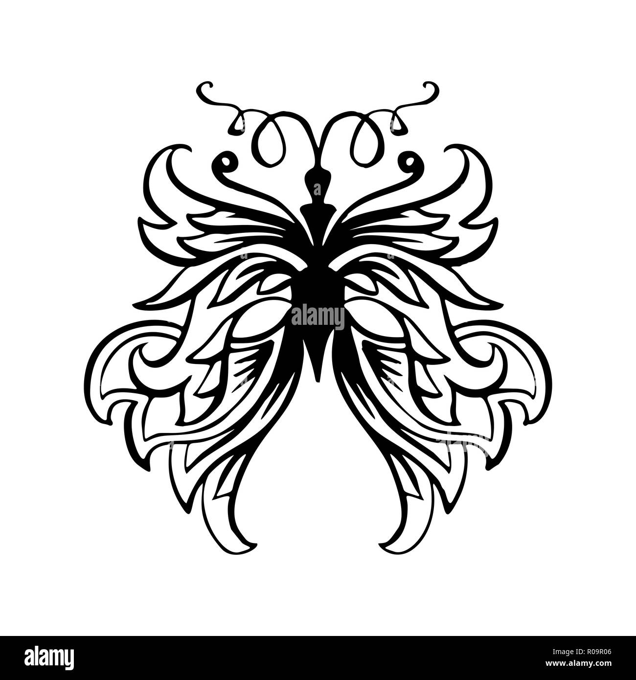 Farfalle Libro Da Colorare Pagina La Linea Di Contorno Marcatore