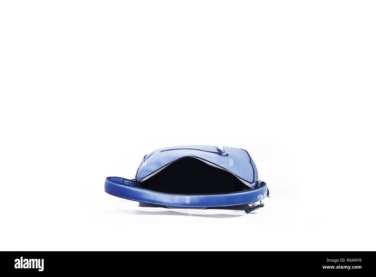 Vuoto Azzurro Ladies Handbag Isolati Su Sfondo Bianco Foto