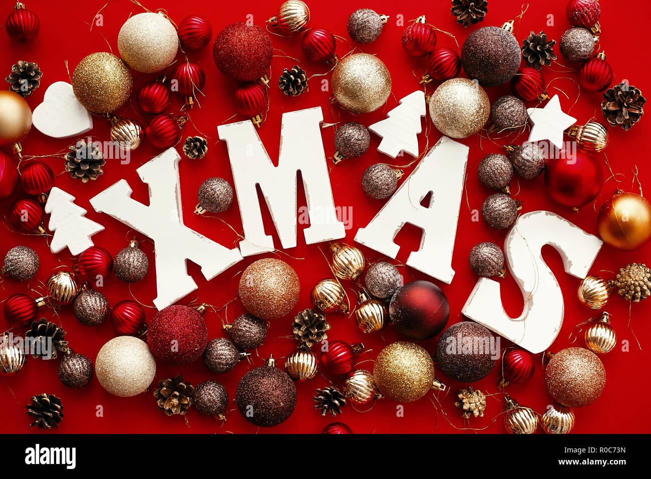 Foto Con Auguri Di Buon Natale.Auguri Di Buon Natale Xmas Parola Di Legno Con Rosso E Oro