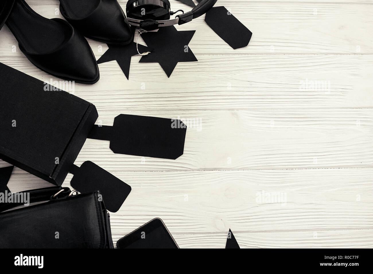 Elegante Black Friday Flat Laici Borsa Nera Confezione Regalo I