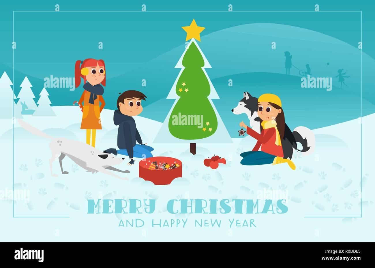 Biglietti Buon Natale Bambini.Illustrazione Vettoriale Natale Biglietto Di Auguri Con Testo