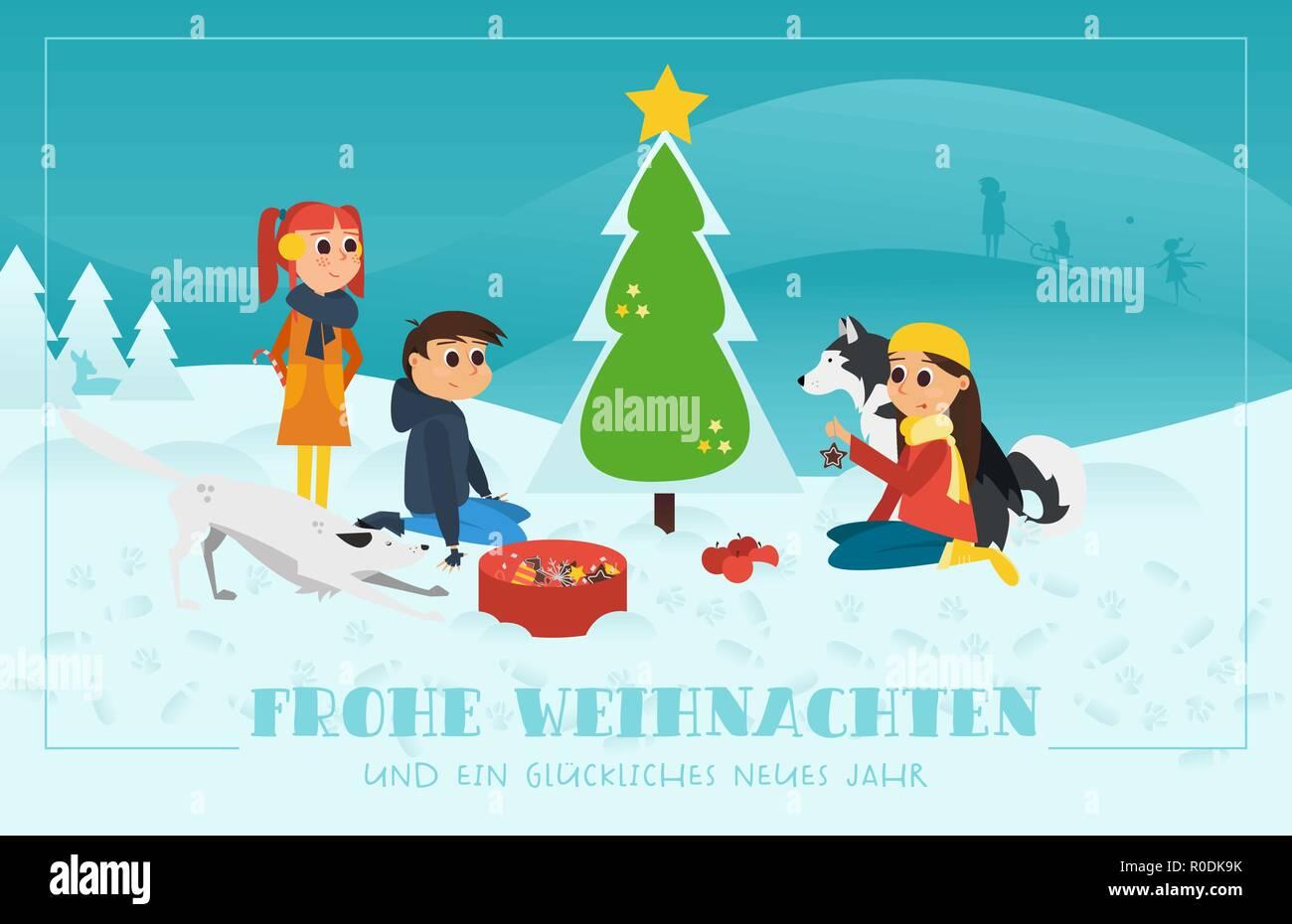 Biglietti Di Auguri Di Natale Per Bambini.Natale Biglietto Di Auguri Bambini Con Cani Decorare L