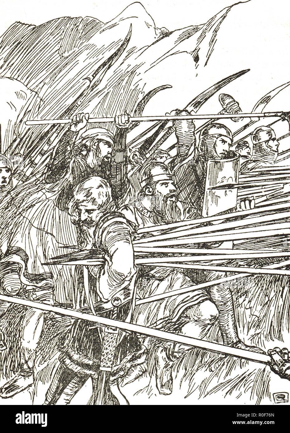 La morte di Arnold von Winkelried, un leggendario eroe della storia svizzera, nella battaglia di Sempach, 1386 Immagini Stock