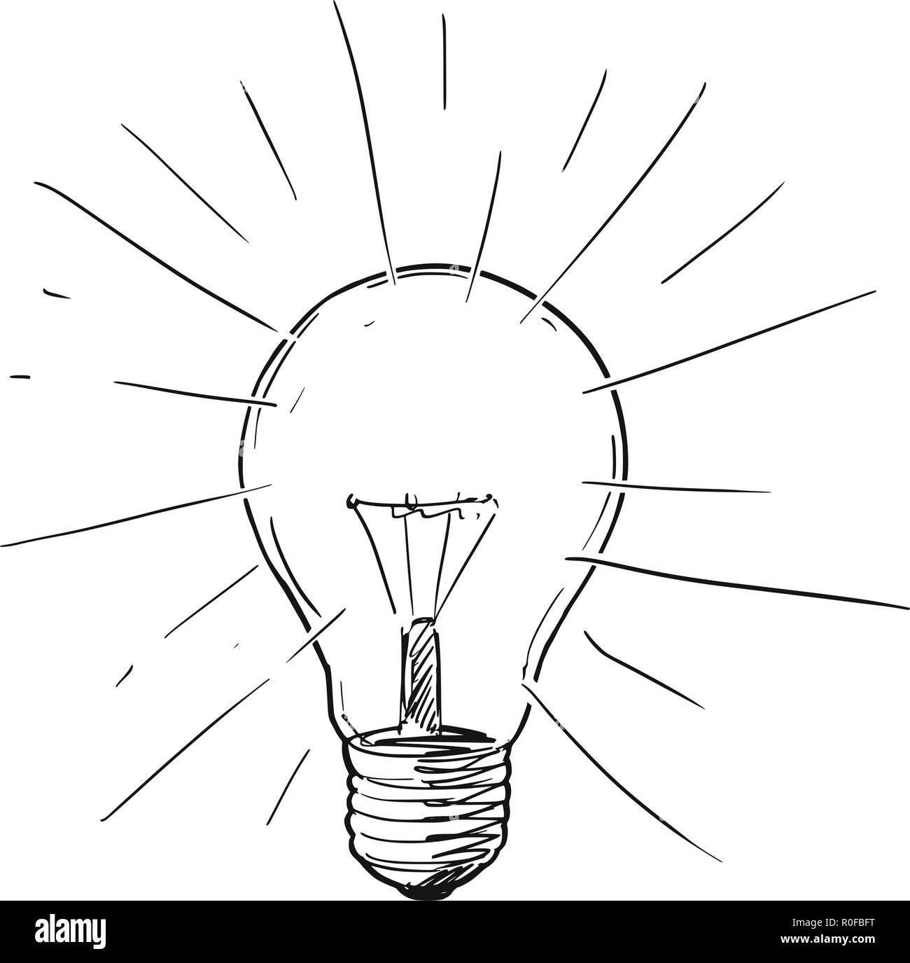 Vector Disegno Illustrazione Della Luce Splendente Lampadina