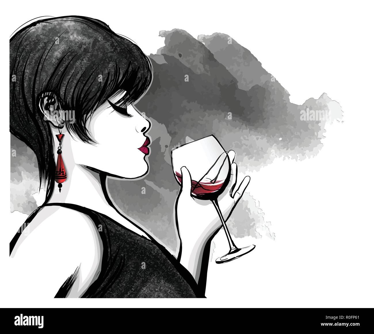 Donna di bere vino rosso - illustrazione vettoriale Illustrazione ... 3b43bb9f3690