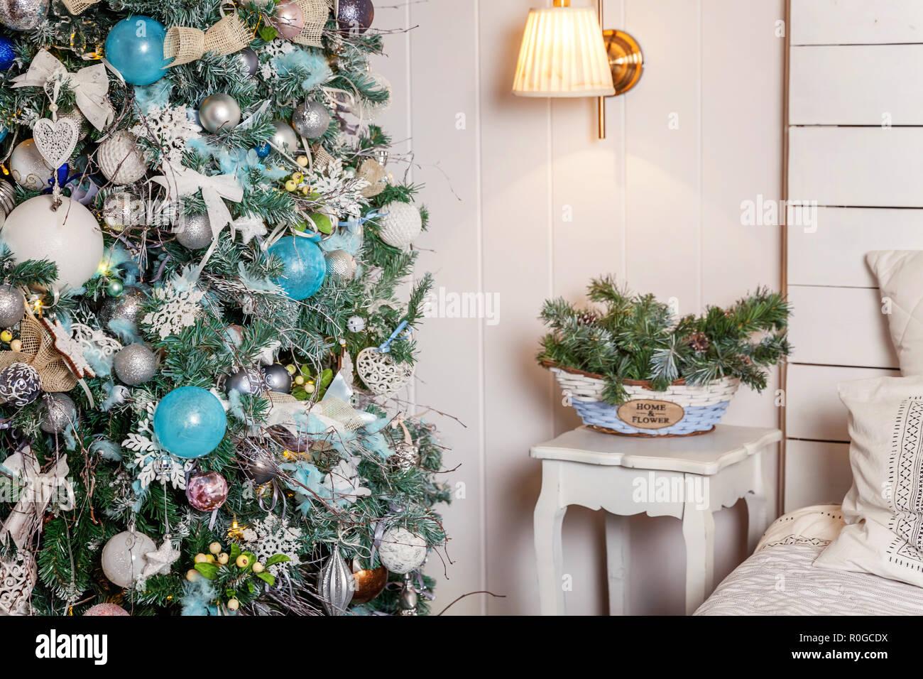 Natale Classico Decorata Sala Interna Anno Nuovo Albero Albero Di