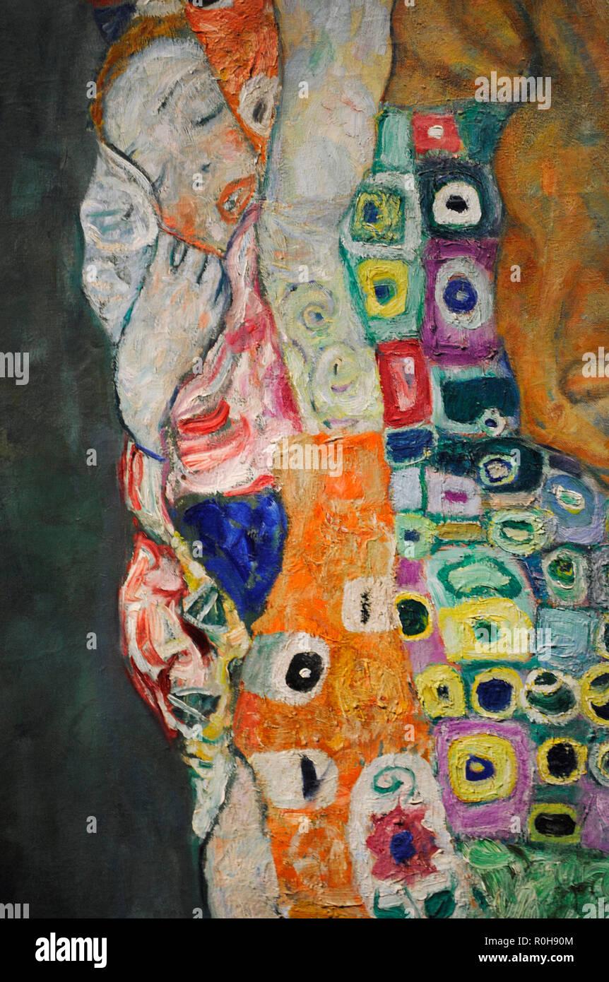 """Gustav Klimt (Vienna, 1862-Vienna, 1918). Austriaco pittore simbolista. Membro del movimento della Secessione Viennese. Morte e vita """"Morte e vita"""", 1915. Dettaglio. Olio su tela. 178 cm x 198 cm. Museo Leopold. Vienna. Austria. Foto Stock"""