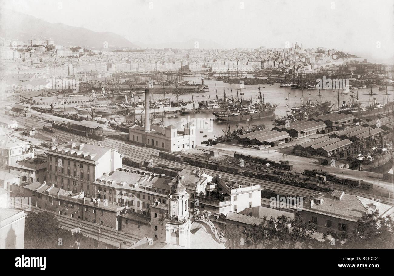 Genova, Italia. Panorama di Villa Rosazza, fine del XIX secolo. Dopo un anonimo fotografia contemporanea. Immagini Stock