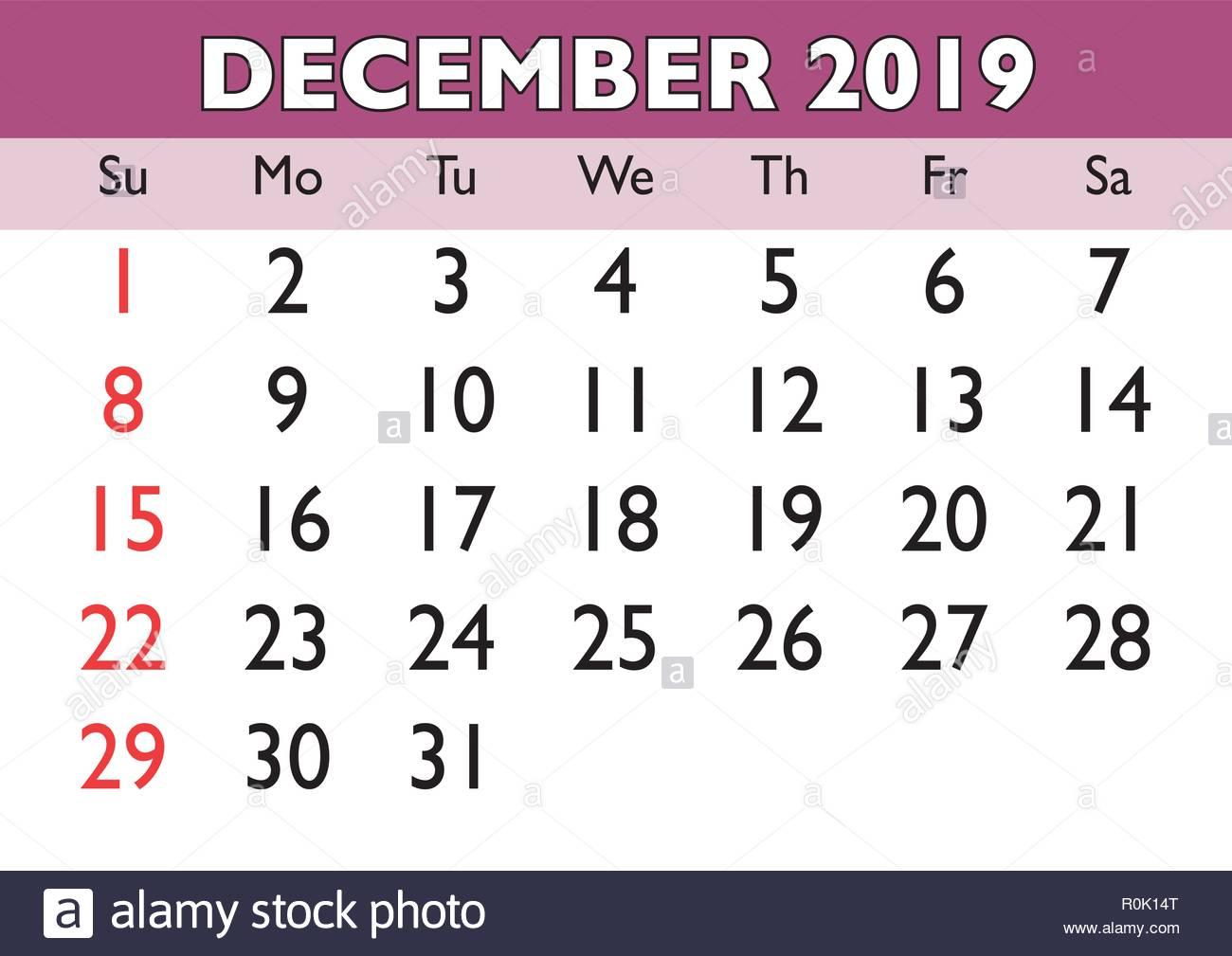 Calendario Dicembre 2019 Stampabile.2019 Calendario Mese Di Dicembre Vettore Calendario