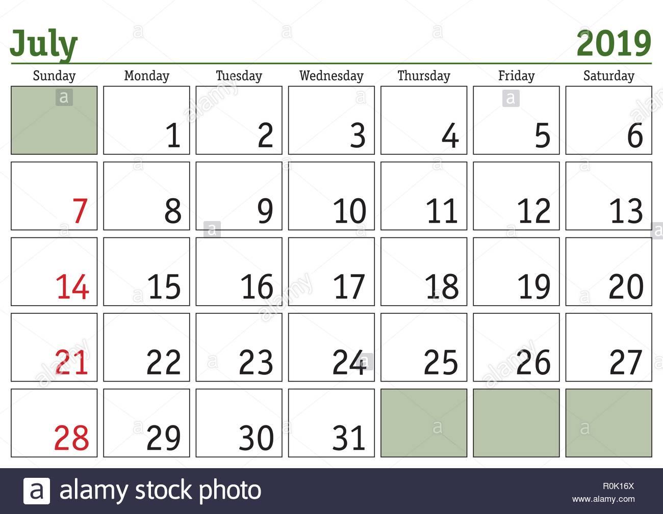 Calendario 31 Luglio 2019.Semplice Digitale Calendario Per Il Mese Di Luglio 2019
