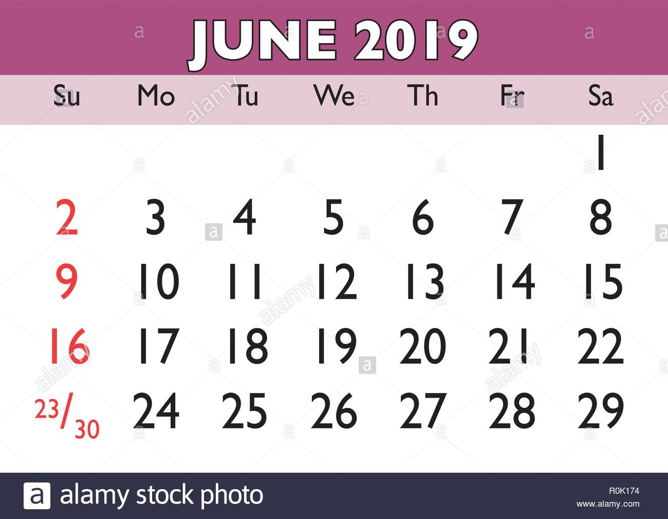 Calendario Mese Giugno.2019 Calendario Mese Di Giugno Vettore Calendario