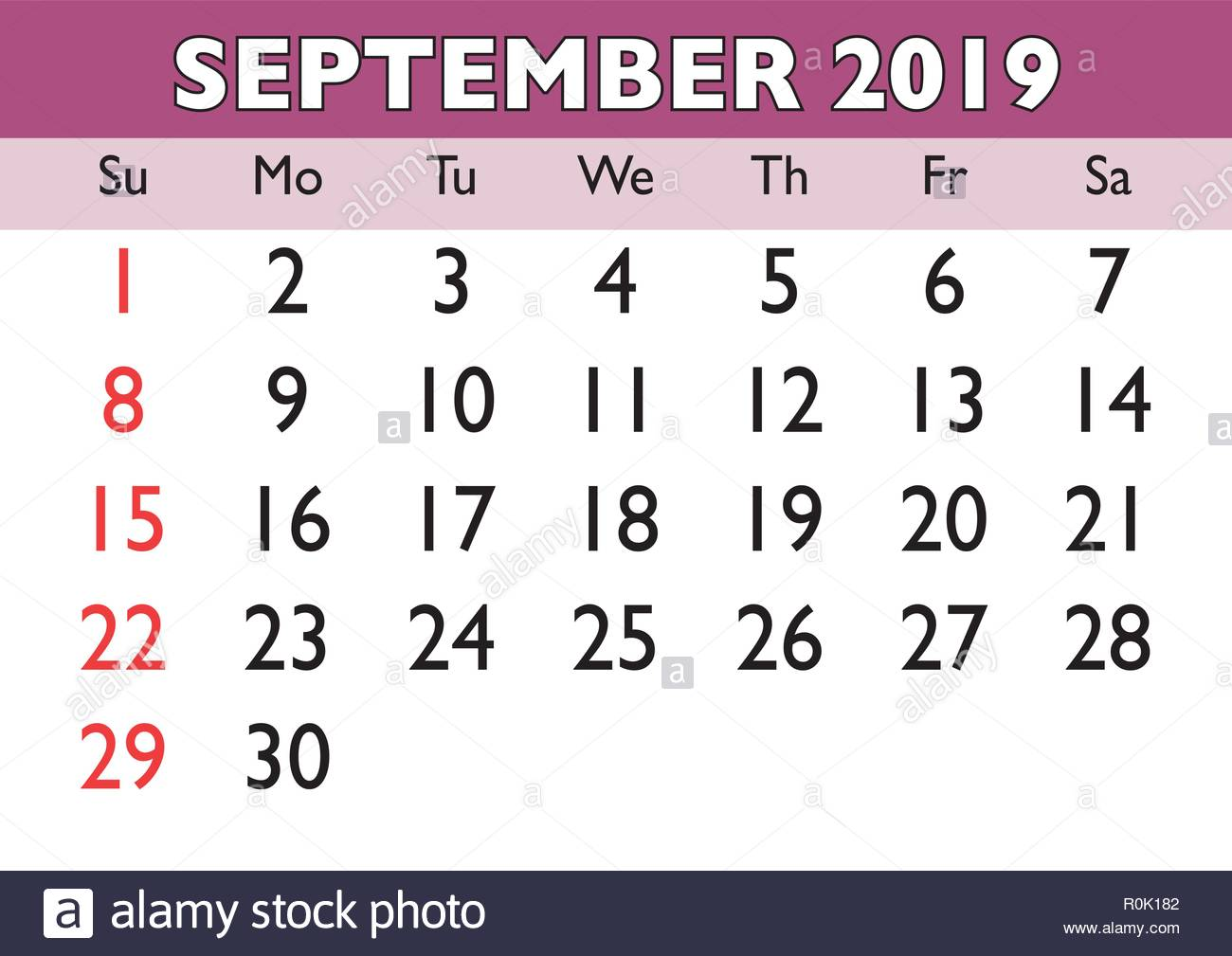 Calendario Mensile Settembre 2020.2019 Calendario Mese Di Settembre Vettore Calendario