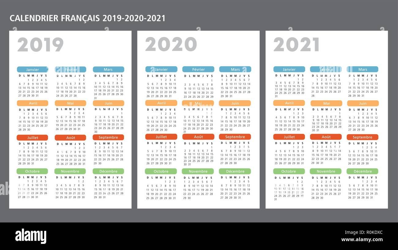 Calendario francese 2019 2020 2021 template vettoriale il testo è