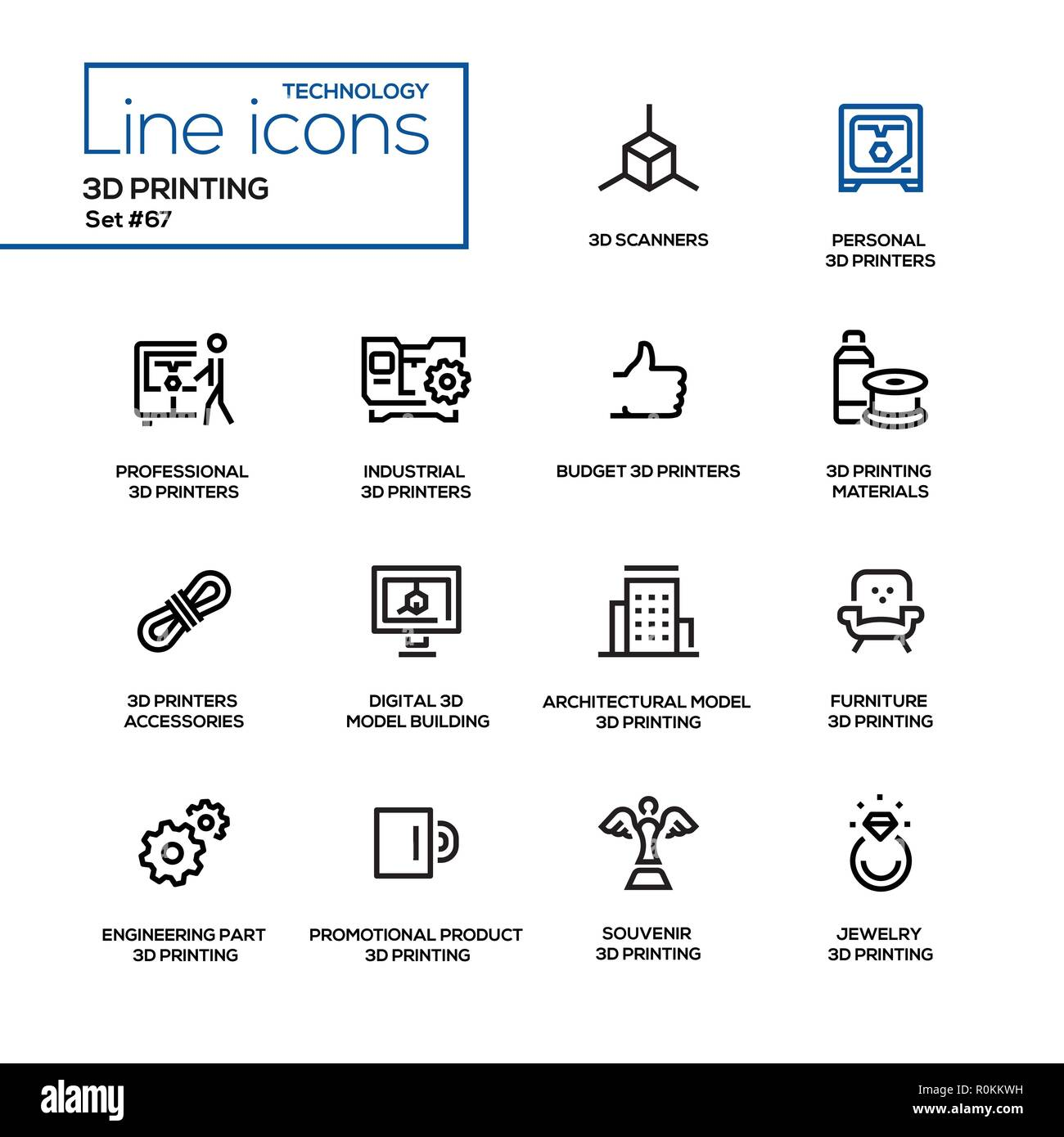 e19a7972c8 La stampa 3D - linea design set di icone Illustrazione Vettoriale ...