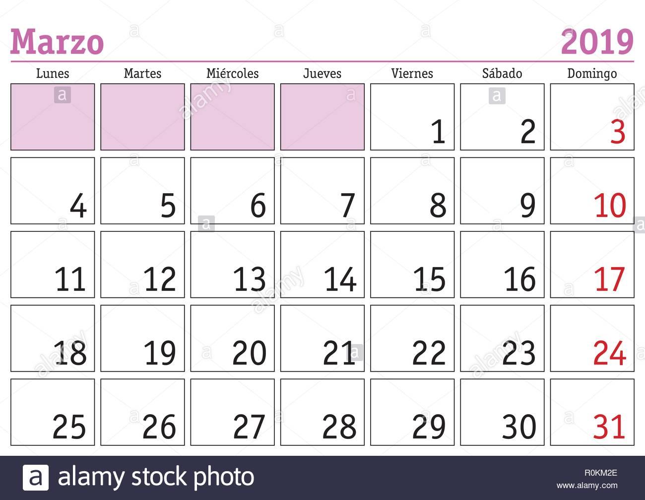 Calendario Di Marzo.Il Mese Di Marzo In Un Anno 2019 Calendario Da Parete In
