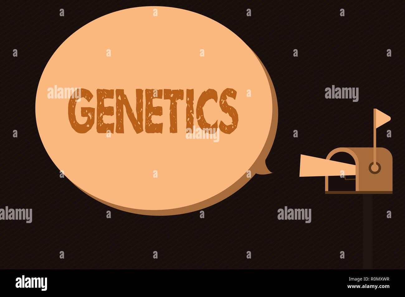 Testo della scrittura genetica. Concetto significato studio dell'eredità e la variazione delle caratteristiche ereditarie. Immagini Stock
