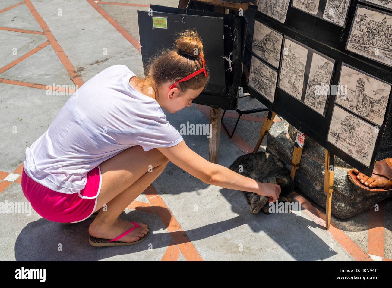 Bambine accarezzare un gatto selvatico, arte stand, che mostra il concetto di amore, amore animali concetto, lazy cat, gentilezza mitezza, dolce e amorevole animali Immagini Stock