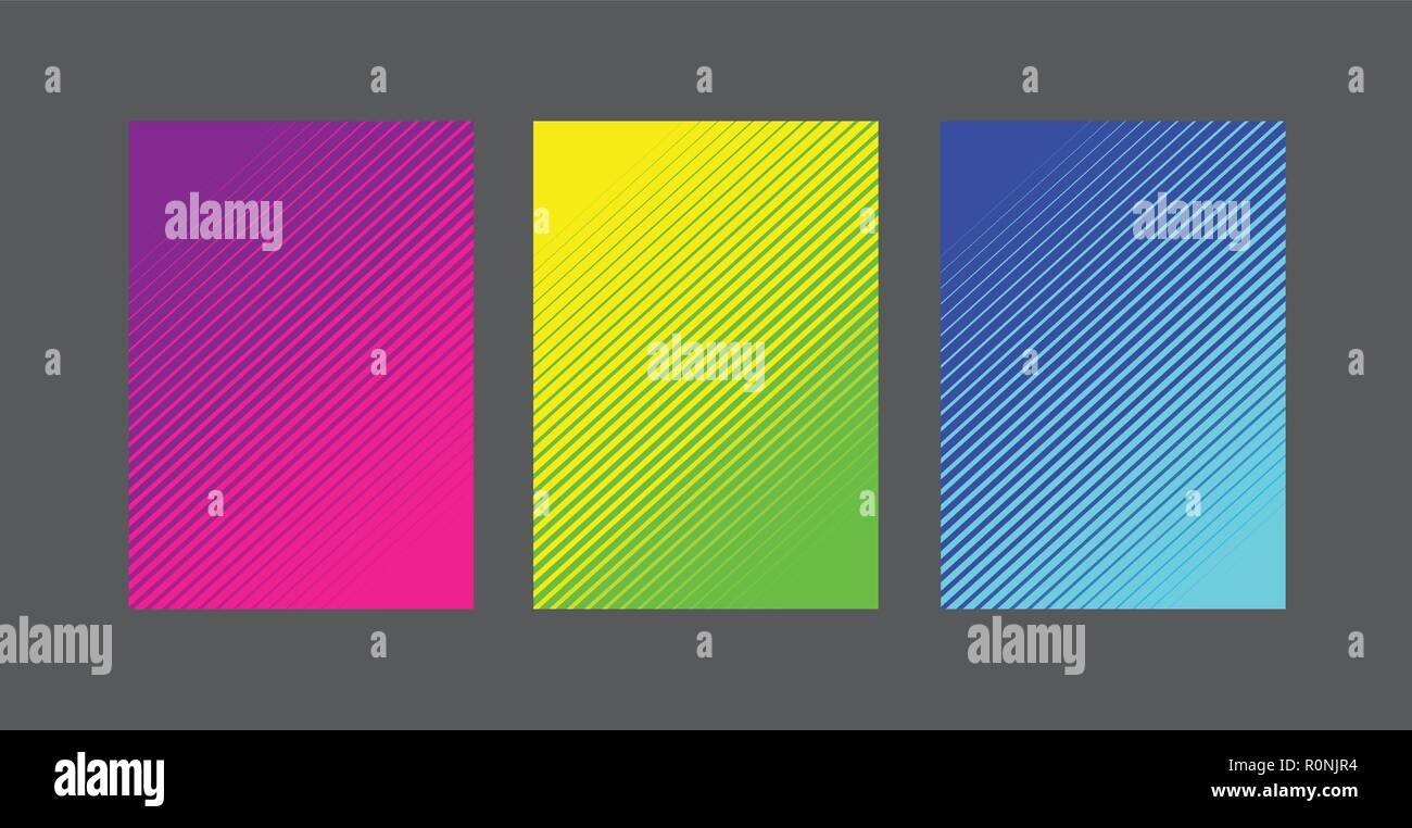 A4 linea di fading pattern set di sfondo Immagini Stock