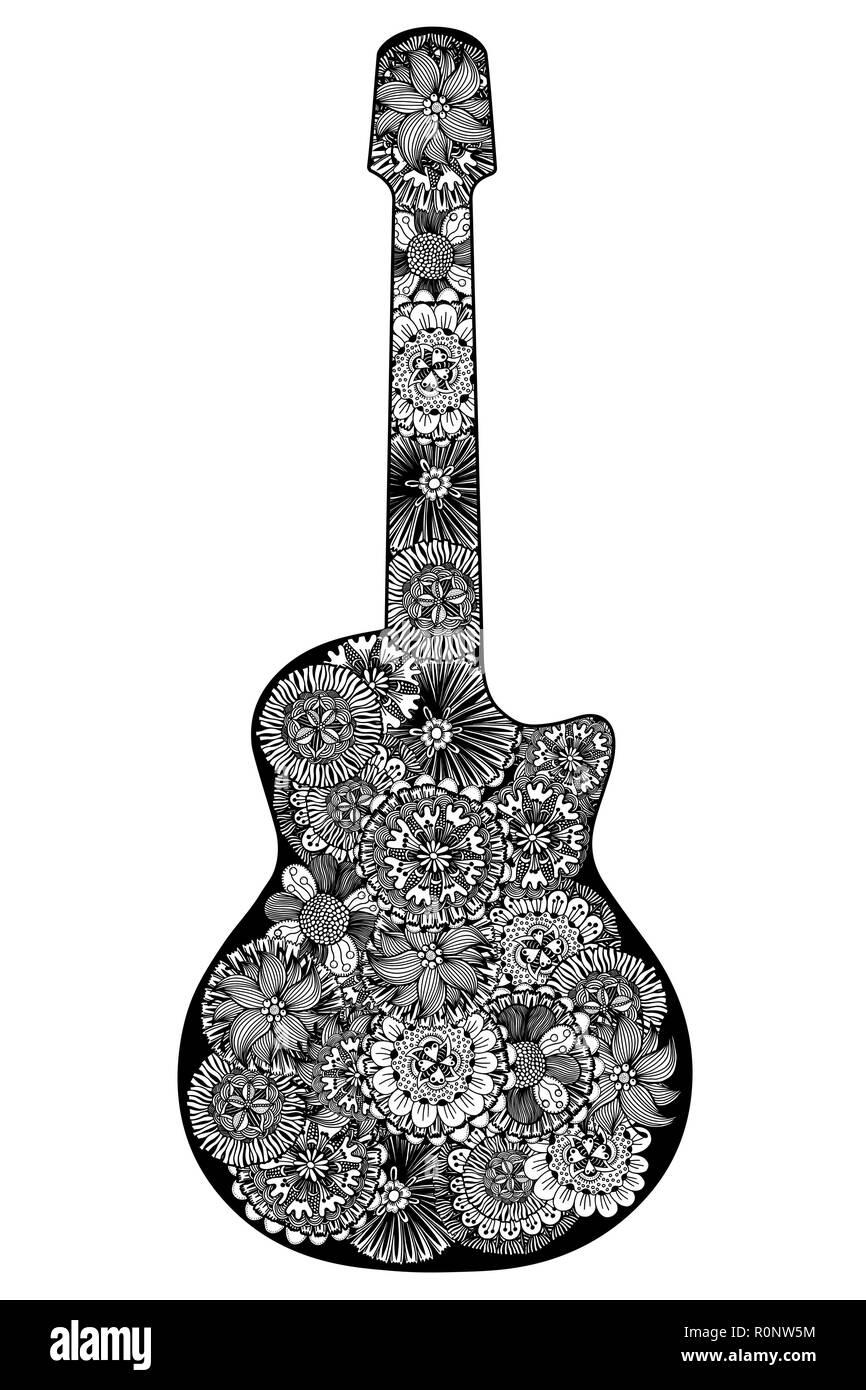 Chitarra Disegnata A Mano Motivi Floreali Libro Da Colorare Pagina