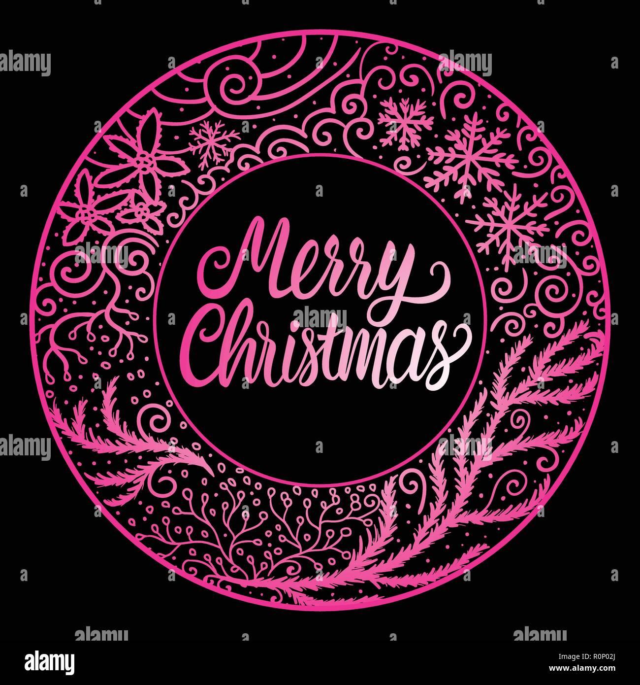 Buon Natale Scritte Iscrizione Colore Rosa Cornice Rotonda Inverno