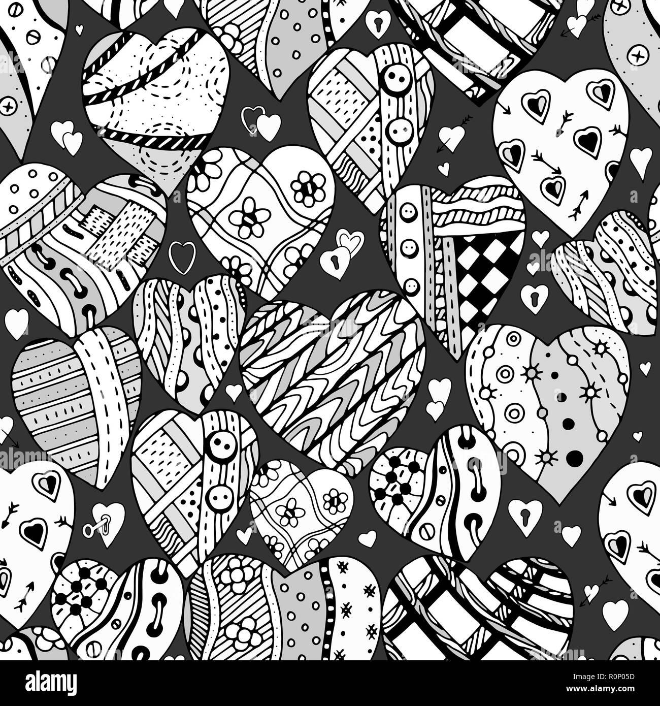 Disegnato A Mano Cuore Ornamentali Con Amore In Doodle Bei Modelli
