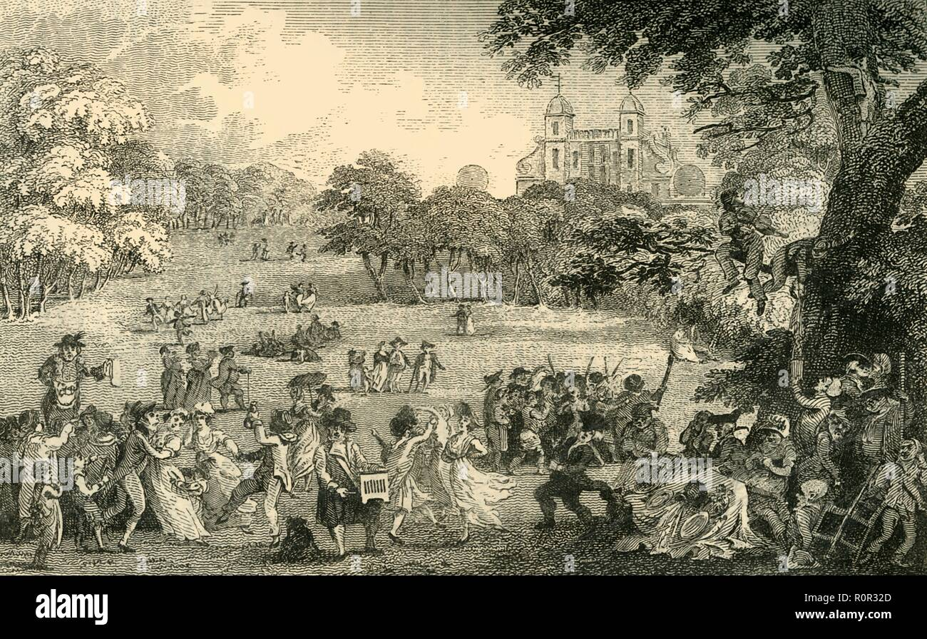 """""""Lunedì di Pasqua nel Greenwich Park"""", (c1878). Turbolenti scena presso la Fiera di Pasqua, con l'Osservatorio Reale di distanza. Gente che si diverte a Greenwich Park, una ex casa reale di caccia parco in che cosa ora è a sud-est di Londra. La fiera è stata abolita nel 1857 come è stato pensato per essere 'deleterious a buon fine e la morale pubblica'. Da vecchi e nuovi di Londra: un racconto della sua storia, della sua gente e dei suoi luoghi. La periferia sud, Volume VI, da Edward Walford. [Cassell Petter, Galpin & Co. di Londra, Parigi & New York, c1878] Immagini Stock"""
