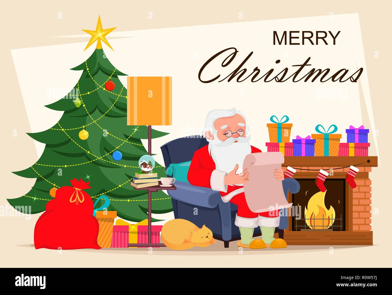 Biglietti Buon Natale Bambini.Buon Natale Biglietto Di Auguri Con Babbo Natale Seduto In Poltrona
