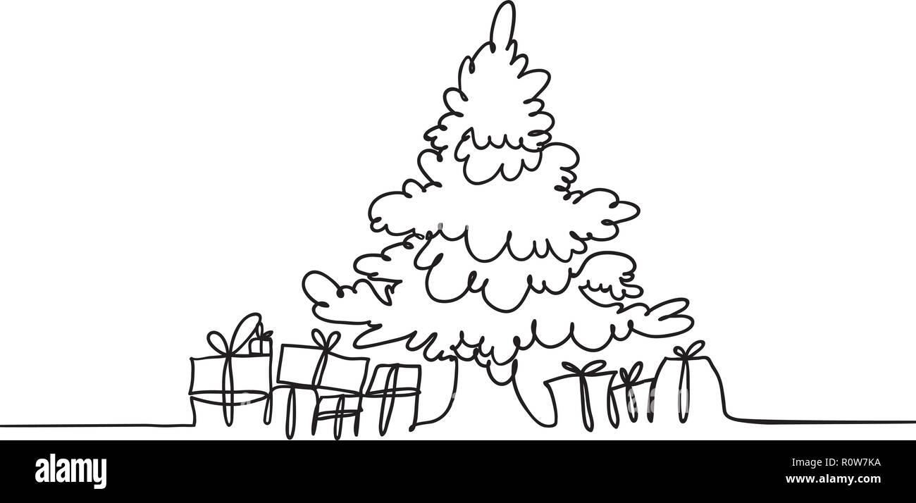 Disegni Di Natale Vettoriali.Auguri Di Buon Natale Una Linea Vettore Banner Albero Di Natale E