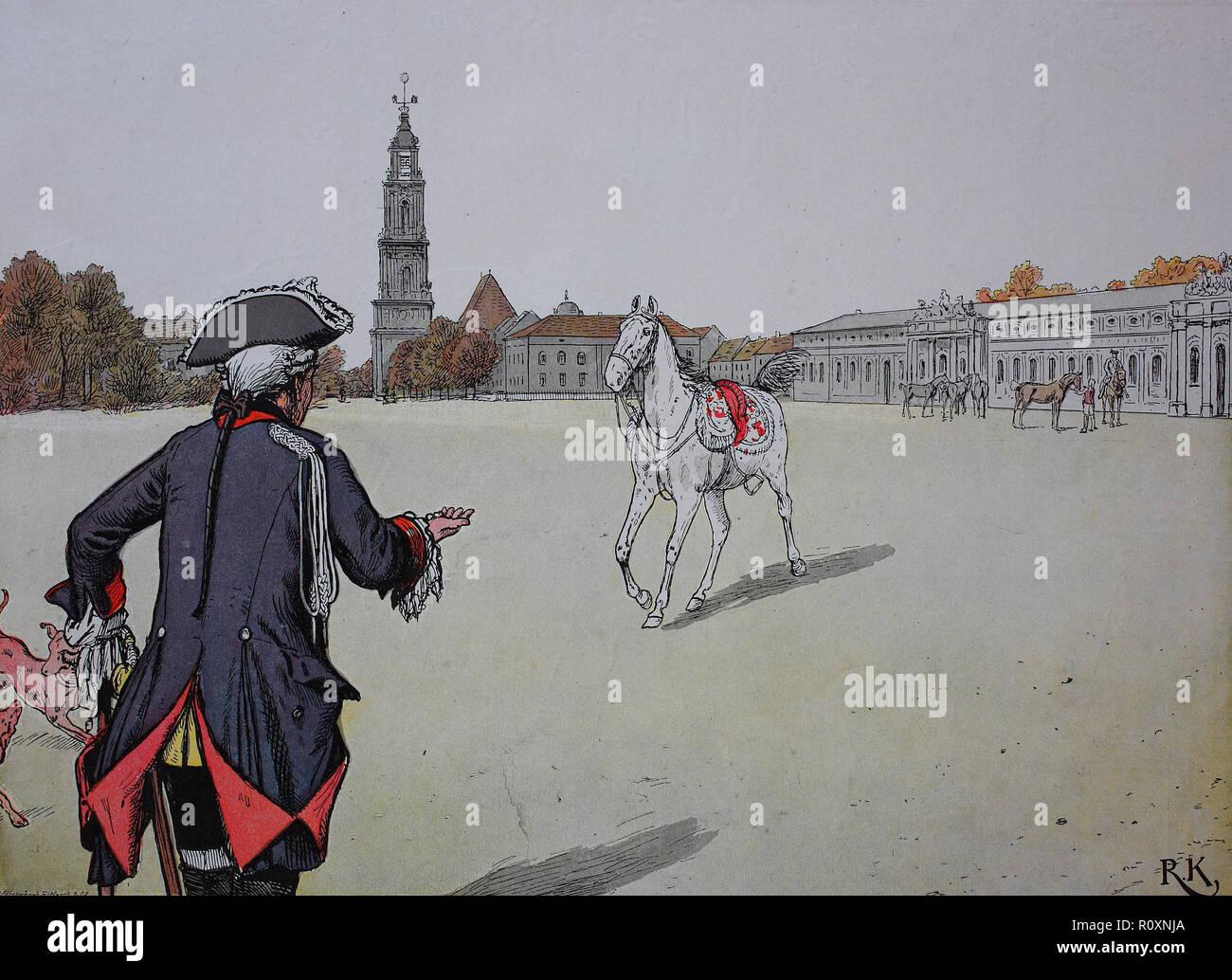Digital riproduzione migliorata re Federico il Grande Federico II di Svevia, Friedrich der Große, Friedrich II. 1712 - 1786 e il suo cavallo Conde Immagini Stock
