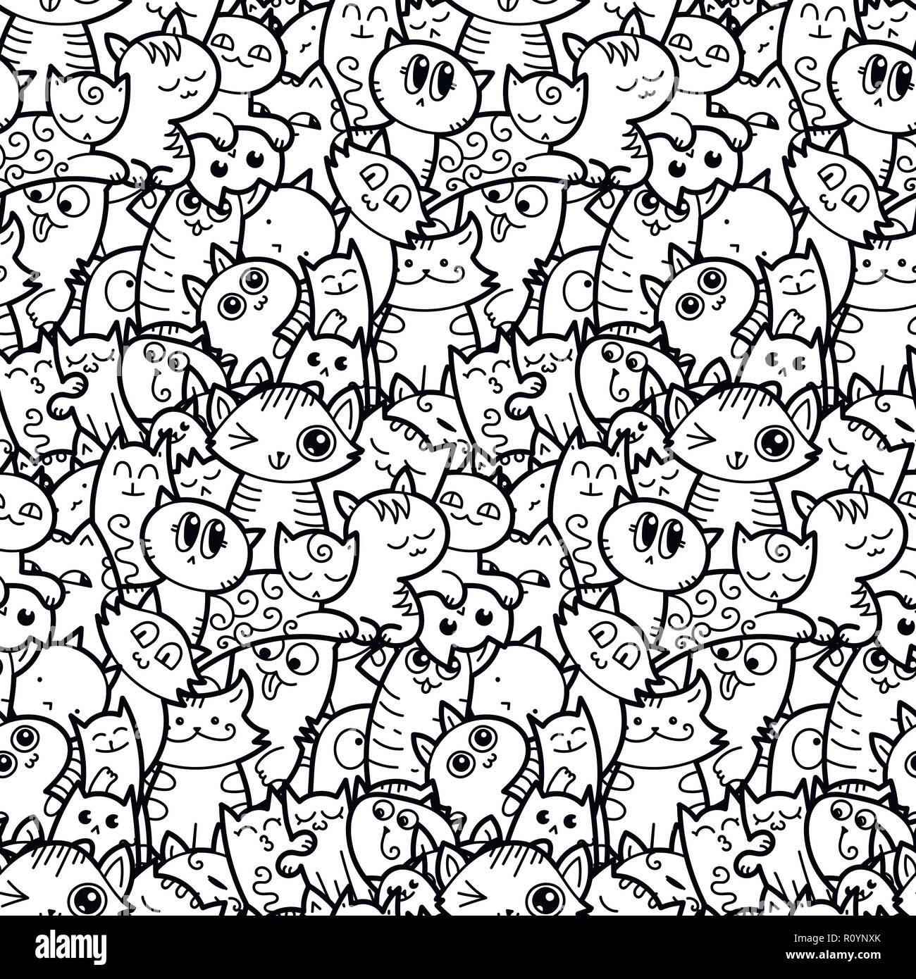 Funny Doodle Gatti E Gattini Seamless Pattern Per Stampe Disegni