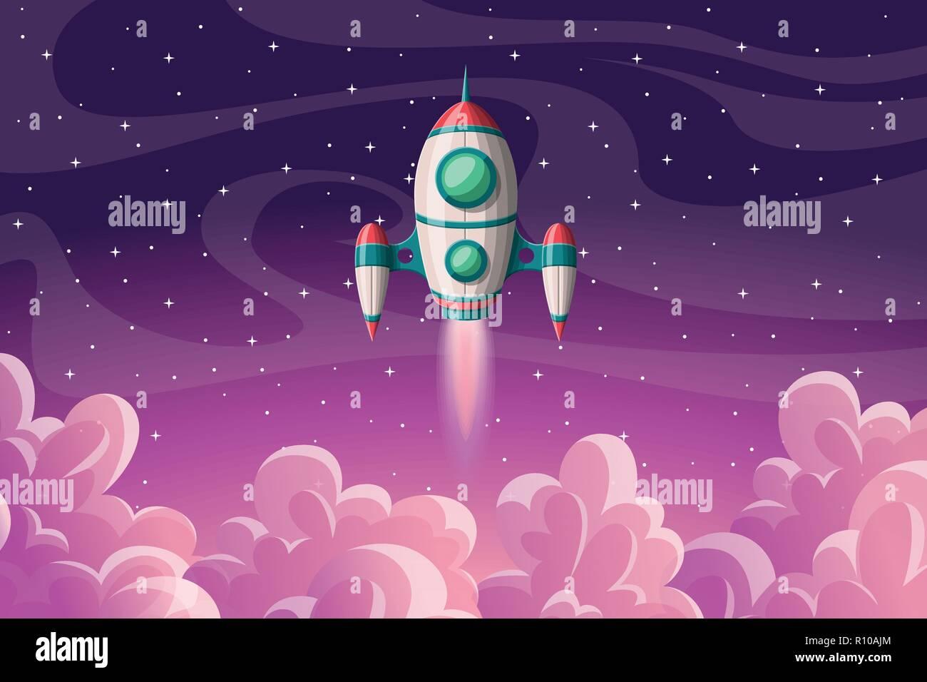 Lancio del razzo con nuvole e stelle, illustrazione vettoriale Immagini Stock