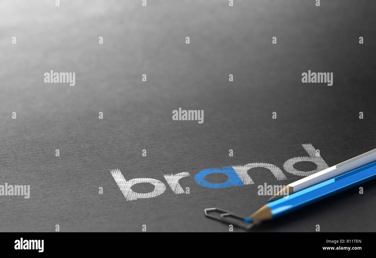 Nome del marchio scritto su carta nera con sfondo bianco e blu in legno matite colorate. 3D illustrazione Immagini Stock