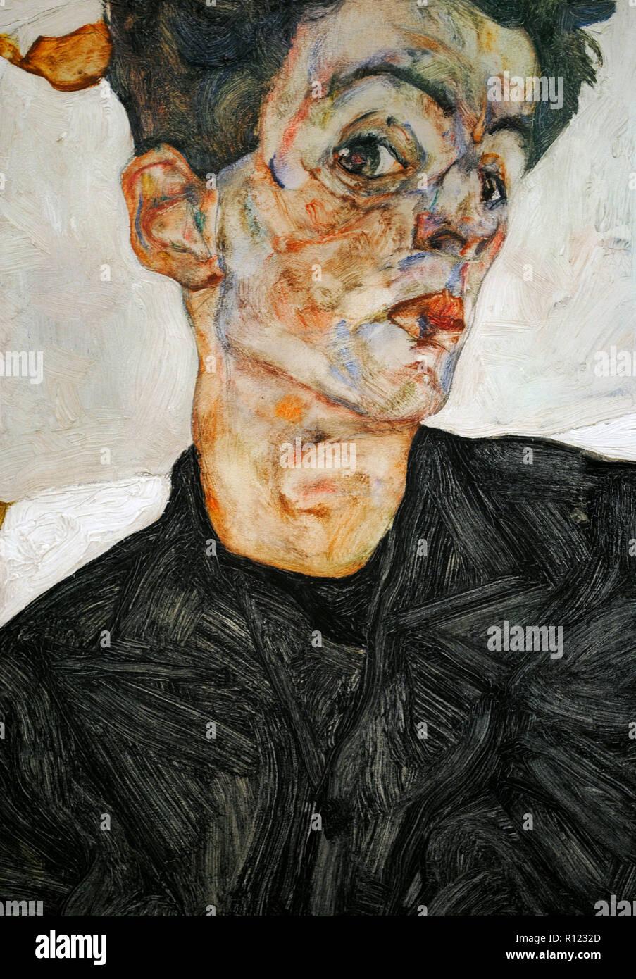 Egon Schiele (Tulln, 1890-Vienna, 1918). Austriaco pittore espressionista. Self-portrait cinese con impianto di Lanterna, 1912. 32,4 x 40,2 cm. Dettaglio. Olio e guazzi a bordo. Museo Leopold. Vienna, Austria. Immagini Stock