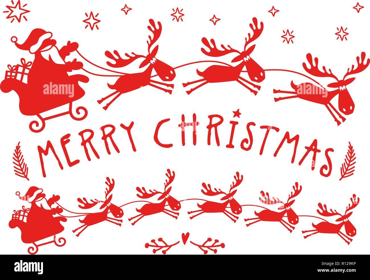 Babbo Natale Con Le Renne.Babbo Natale Con La Slitta Con Le Renne Per Carte Di Natale Wall