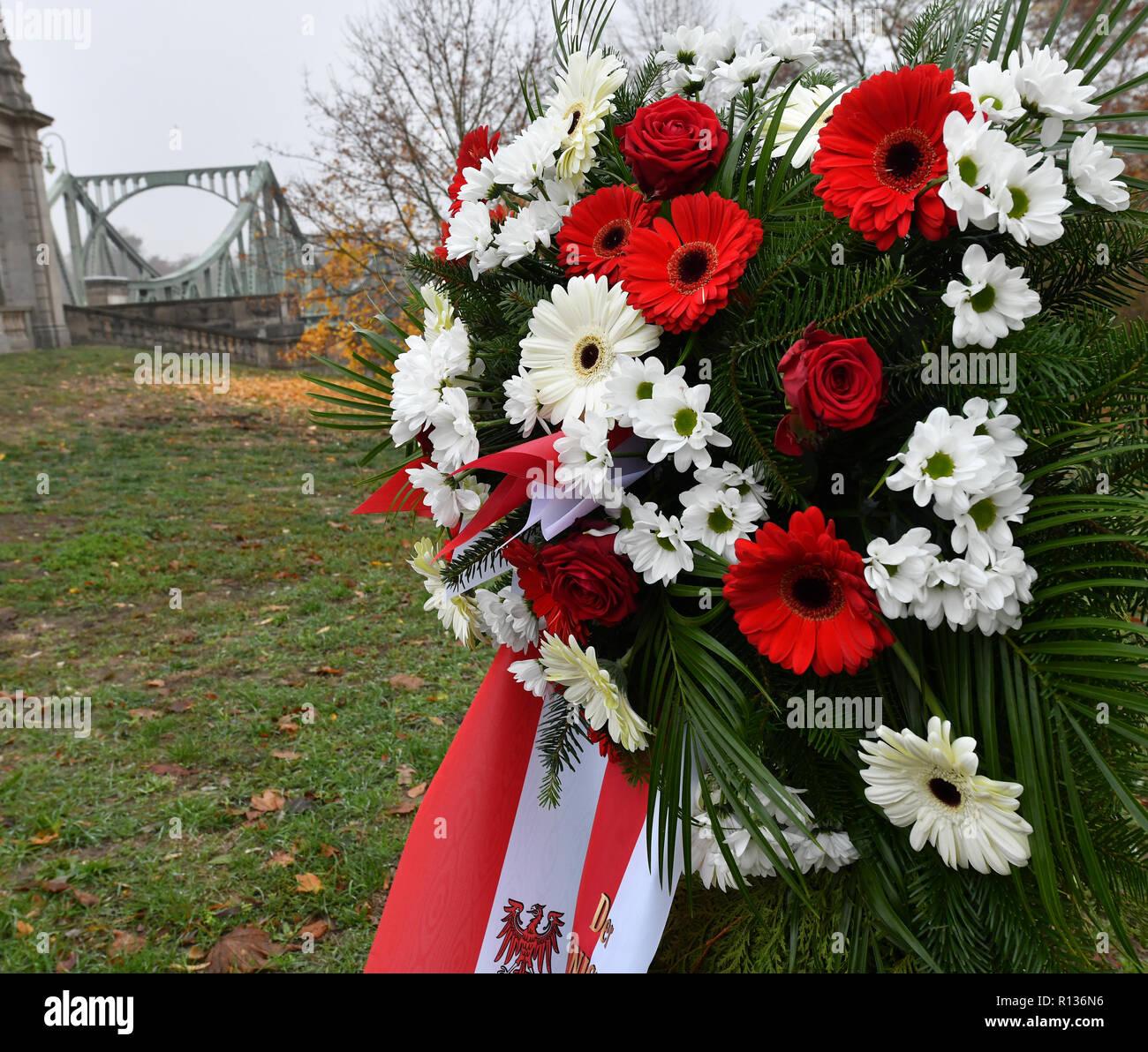 Potsdam, Germania. 09Nov, 2018. In occasione del 29° anniversario della caduta del muro di Berlino, una corona si trova presso il ponte di Glienicke. Credito: Bernd Settnik/dpa-Zentralbild/dpa/Alamy Live News Immagini Stock
