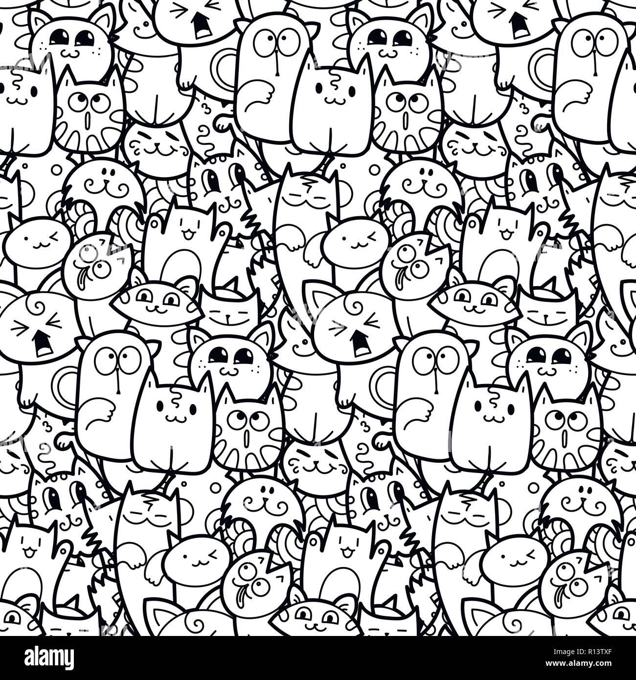 Funny Doodle Gatti E Gattini Seamless Pattern Per Stampe Disegni E