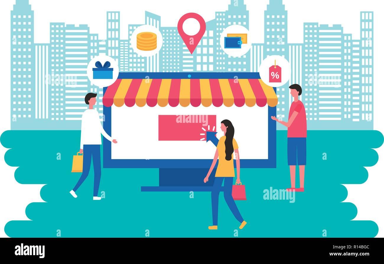 online store 6ff45 6f0e0 Persone computer negozio online shopping illustrazione ...