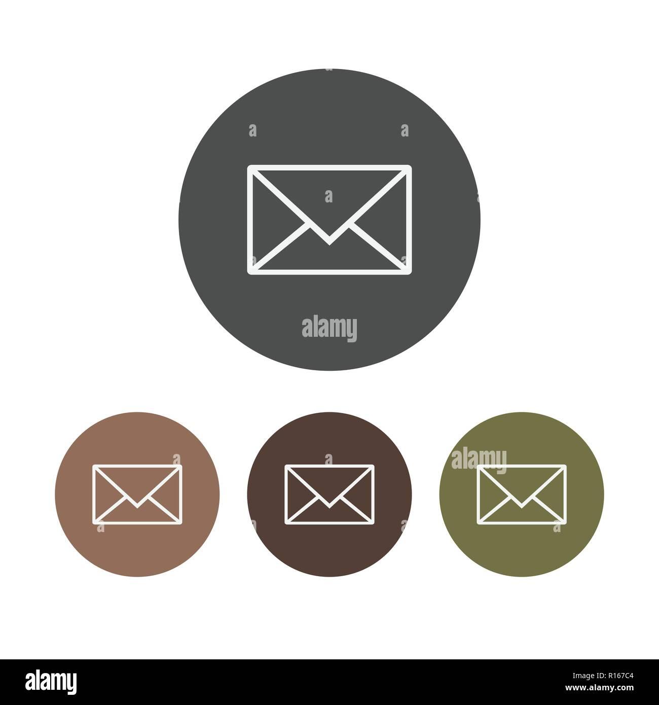 Icona di messaggio, e-mail, lettera segno, vettore illustrazione piana. Set. Immagini Stock