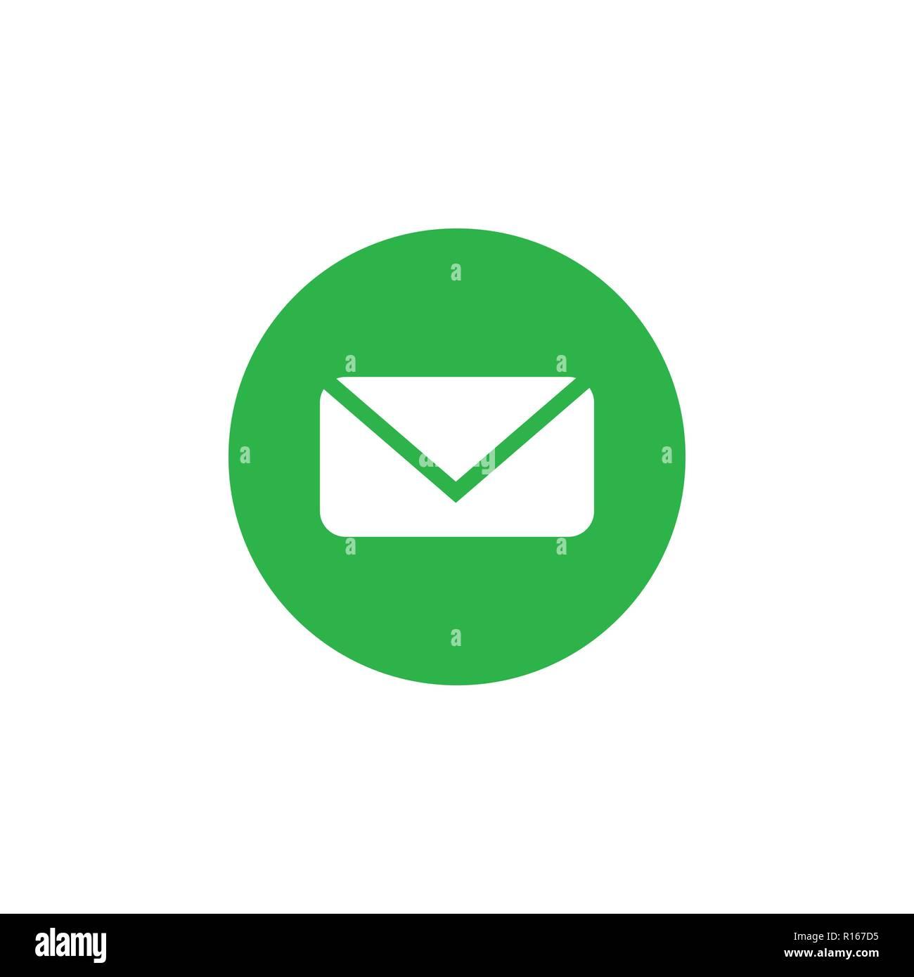 Icona di messaggio, e-mail, lettera segno, bianco su bianco-verde dello sfondo. Vettore illustrazione piana. Immagini Stock