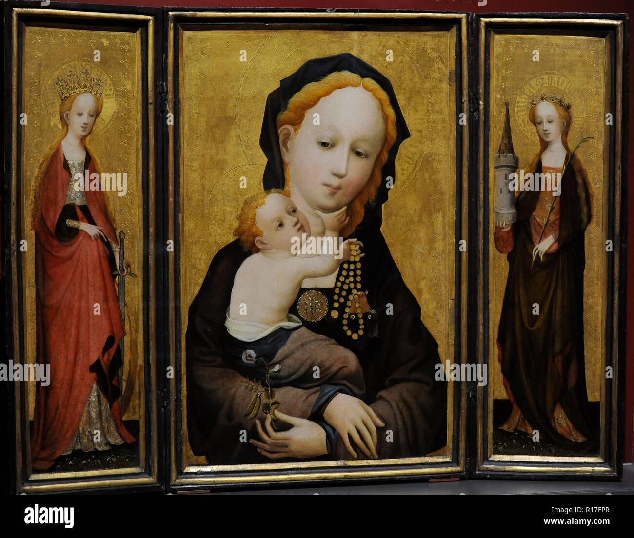 Maestro di Santa Veronica (attivo a Colonia, tra 1395-1415). Madonna con il  fiore di pisello dolce, ca.1410-1415. Trittico. Sulla sinistra, Santa  Caterina e sulla destra Santa Barbara. Legno di noce e legno