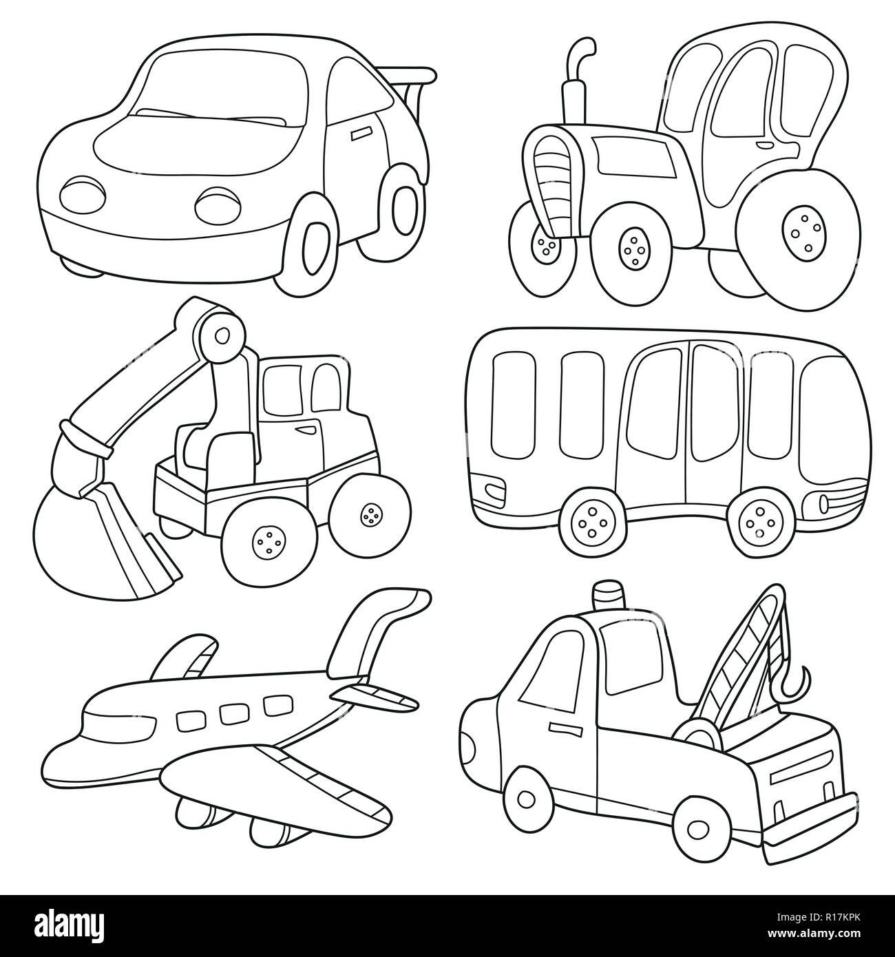 Trasporto Di Cartoni Animati Libro Da Colorare Immagine E Vettoriale Alamy