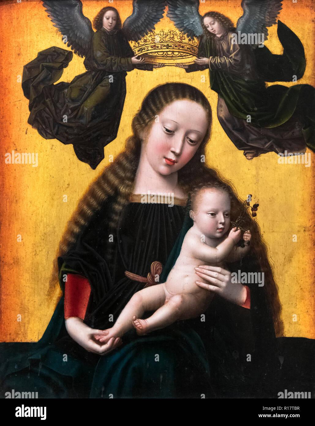 Madonna e Bambino di Gerard David (c.1460-1523), olio su pannello, fine del XV secolo. Immagini Stock