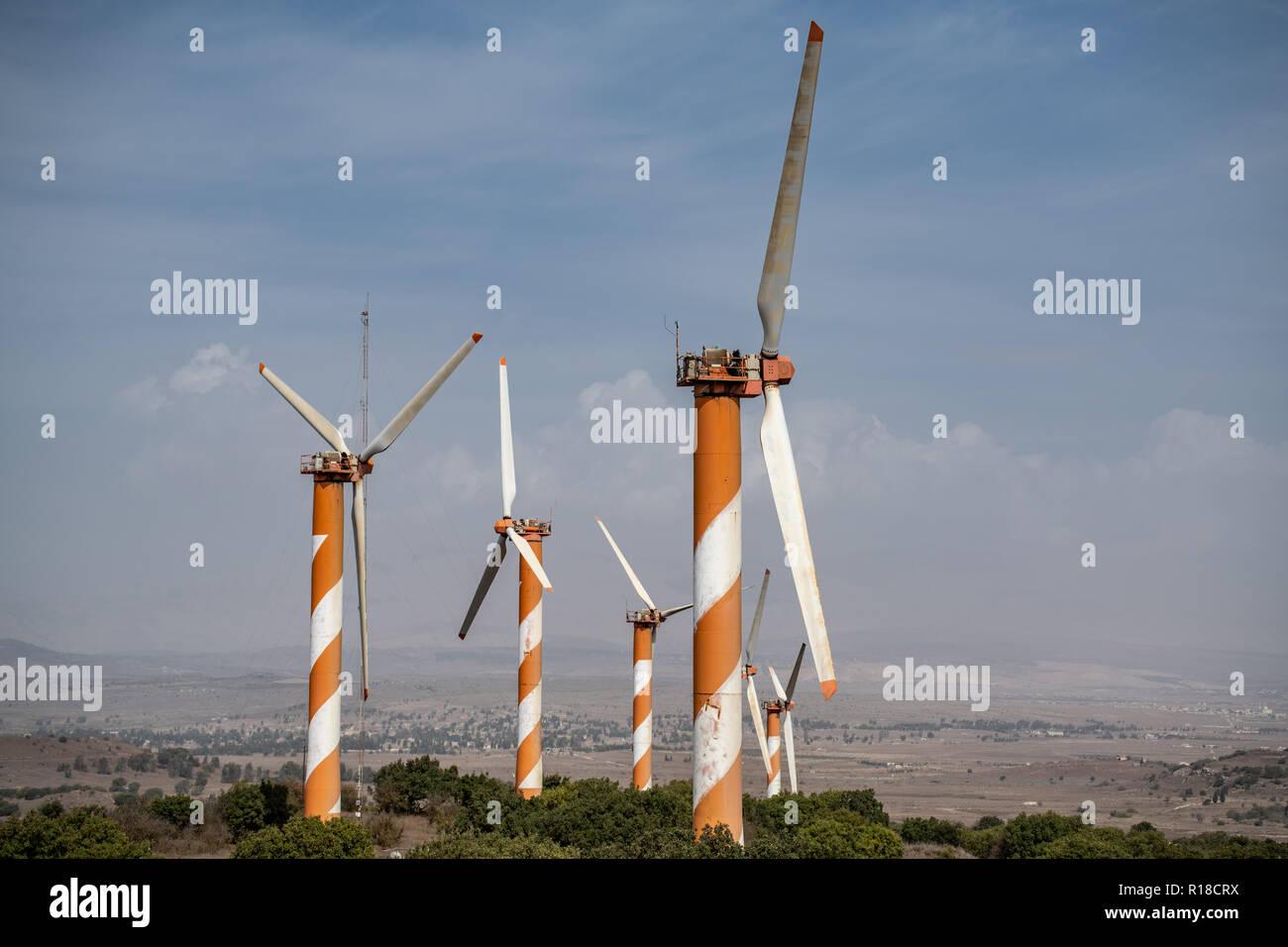 Alture del Golan Turbine eoliche Immagini Stock
