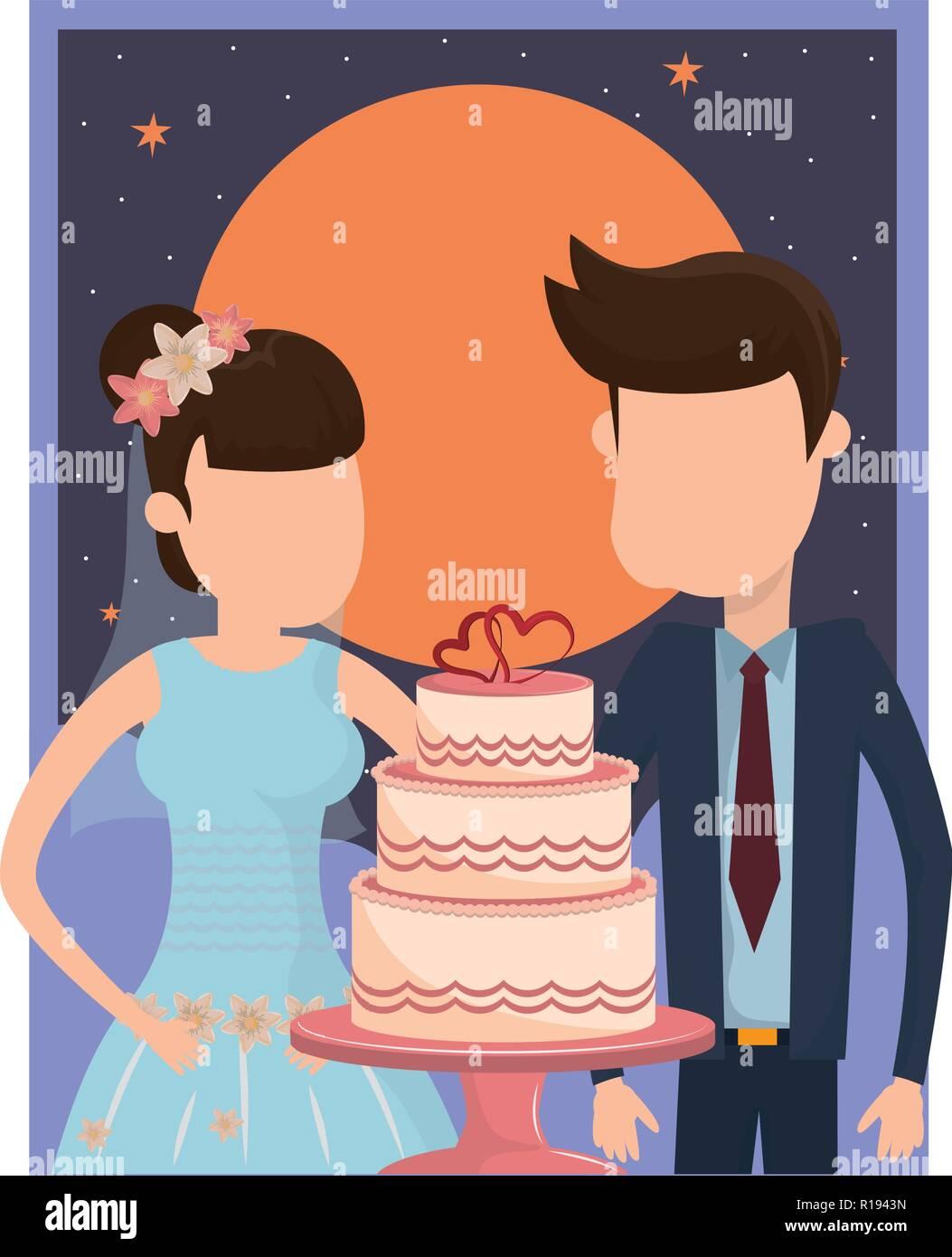 Coppie in viaggio di nozze con torta nuziale decorazione di cuore durante  la notte con luce c962aff00ff8
