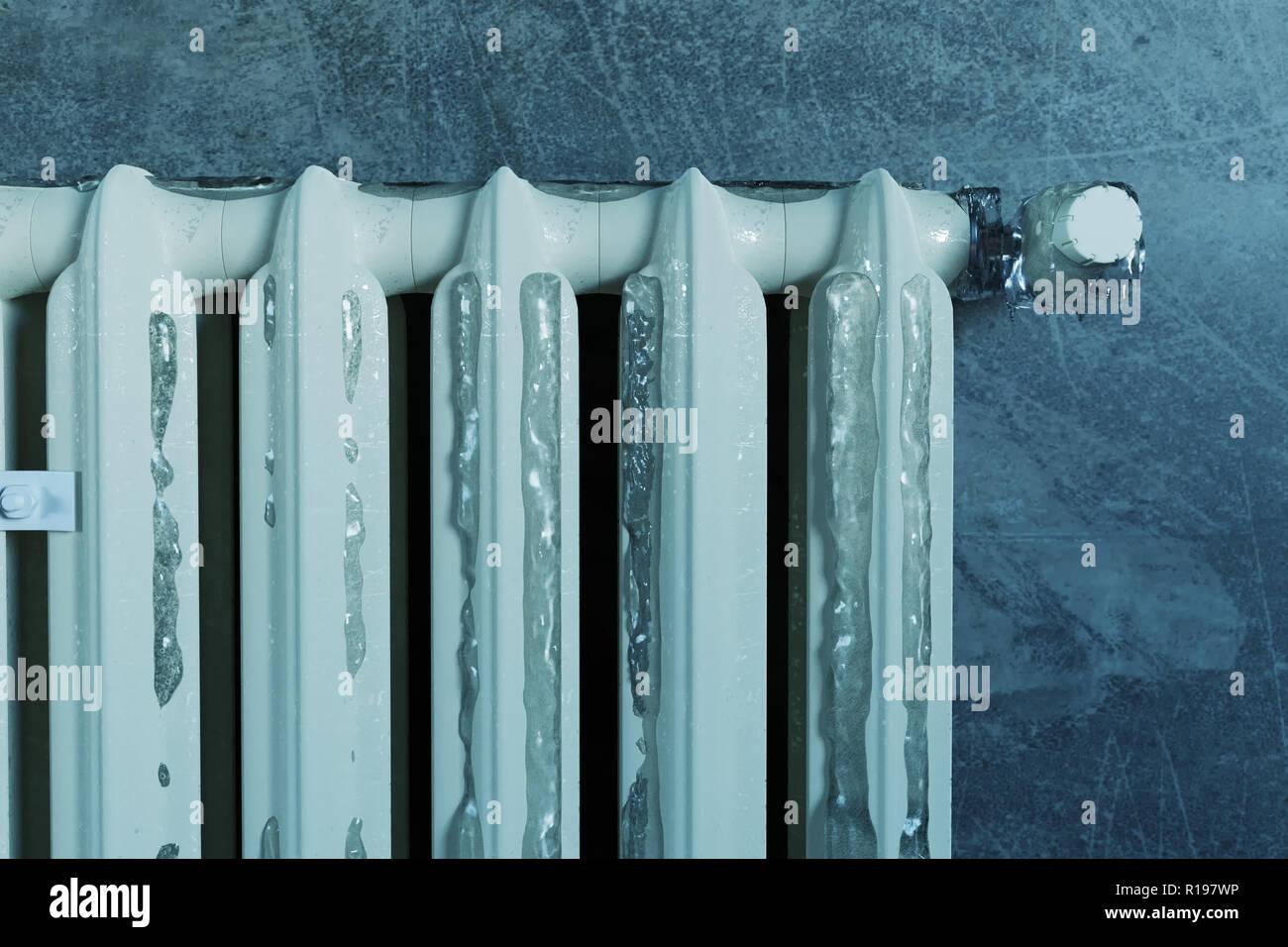 3D rendering di un vecchio radiatore termico ricoperto di ghiaccio a causa della povertà energetica Immagini Stock