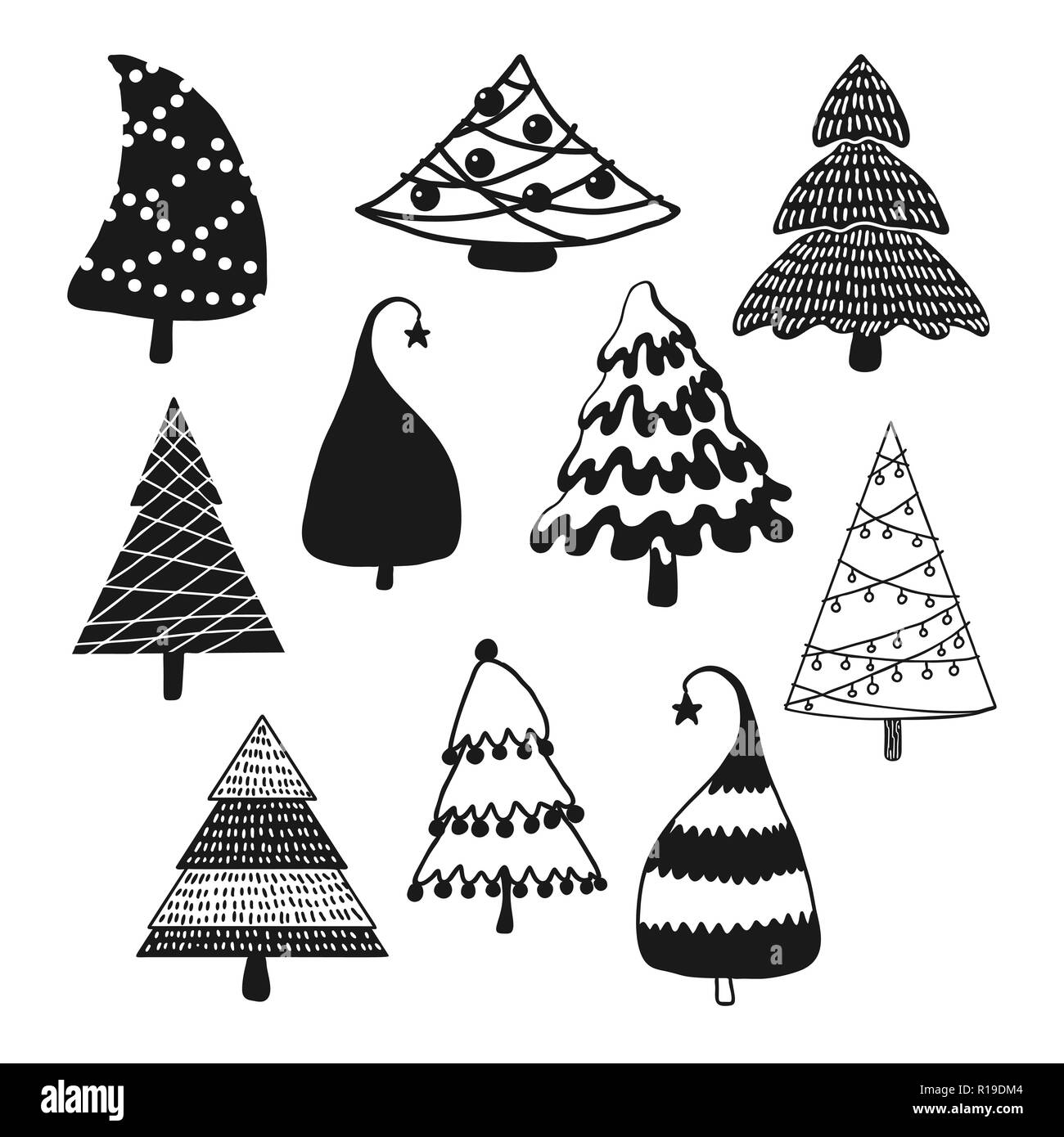 Disegni Di Alberi Di Natale.Impostare Decorativo Di Alberi Di Natale Illustrazione
