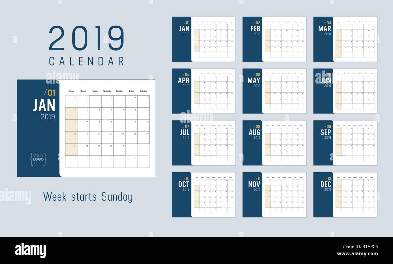 Calendario A Settimane.Anno Di Calendario 2019 Settimane Inizio Domenica