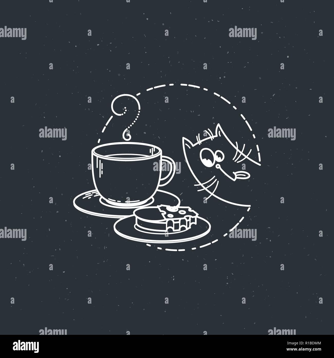 Scheda Vettore Con Cute Cat Con Coppa E Un Panino Ora Del Tè Caffè
