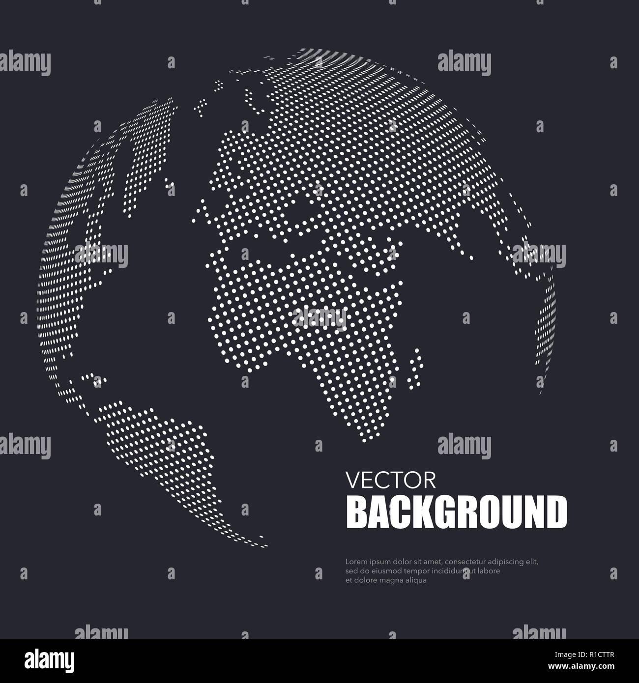 Sfondo Scuro Con Il Bianco Punteggiato Mappa Del Mondo Con Un Testo